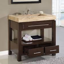 Vanity Units With Drawers For Bathroom by Charming Single Sink Bathroom Cabinet Using Cream Granite Worktops