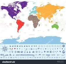 World Time Zones Map by Political Map World Colored By Continents Stock Vector 316652069