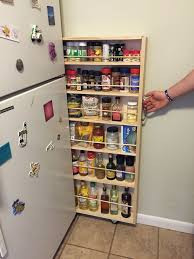 Space Saving Kitchen Furniture by Hidden Fridge Gap Slide Out Pantry Food Storage Shelving And