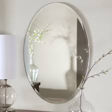 frameless wall mounted bathroom wall mirror over sink with white