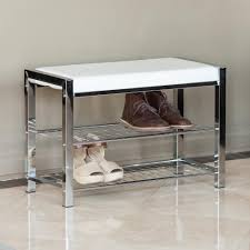 White Entryway Table by Danya B White Leatherette With Chrome Frame Storage Entryway Bench