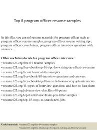 Objectives For Resumes Examples by Top 8 Program Officer Resume Samples 1 638 Jpg Cb U003d1427855162
