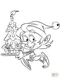 christmas elf running with a tree coloring page free printable