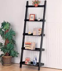 furniture traditional living room leaning ladder shelf black
