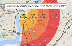 Map Nj Walking Distance Map From New Jersey For Pope U0027s Visit U2013 Pope