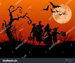 halloween background silhouettes children trick treating stock