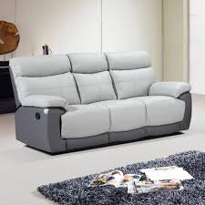 stirling light grey leather recliner with dark grey trim sofa