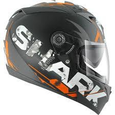 shark s700 s trax matt black orange motorcycle helmet koa sun