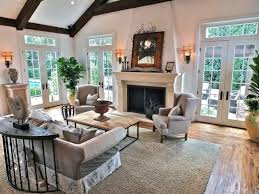 Exposed Beam Ceiling Living Room by Craftsman Living Room With Stone Fireplace U0026 High Ceiling In Long