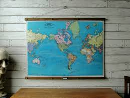 World Map Canvas by World Map 1897 Vintage Pull Down Reproduction Canvas