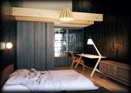 japanese bedroom style blue stained sloping ceiling surface