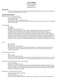 Oilfield Resume Objective Examples by 6 Resume Objective For Warehouse Position Sample Resumes