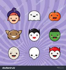halloween cute background cute kawaii halloween icons set funny stock vector 316613420