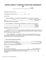 free llc operating agreement templates pdf word eforms