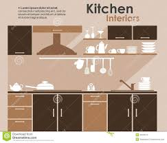 Kitchen Cabinet Logo Kitchen Interior In Flat Infographic Style Stock Vector Image