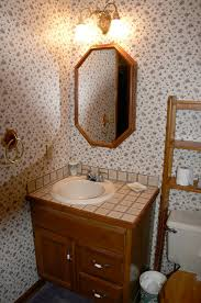 Tiny Powder Room Ideas Bathroom Unique Wooden Rail Like Stairs Shelving Over Toilet With