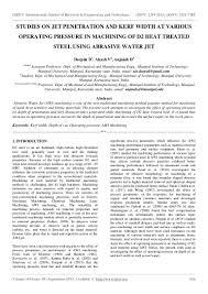 studies on jet and kerf width at various operating pressu u2026