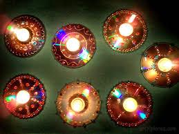 Diwali Decoration In Home Decorative Diyas Oil Wax Lamps Using Waste Cd U0027s Artxplorez