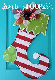merry christmas stocking wood door hanger by simply adoorable