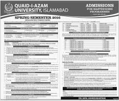 quaid i azam university islamabad spring semester 2016 masters bbs