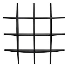 bcp cross wood wall shelf black finish home decor furniture