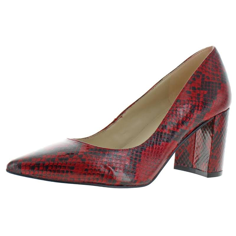Marc Fisher Claire Faux Leather Block Heels Red 8.5 Medium (B,M)