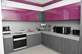 Gray Color Schemes For Kitchens by Modern Purple Cabinet Design For Small Kitchen With Grey Color