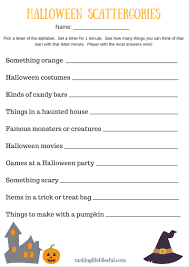 Halloween Masks Printables Halloween Scattergories Printable Game Making Life Blissful