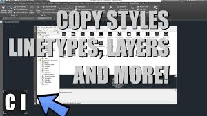 autocad design center copy styles linetypes blocks from one