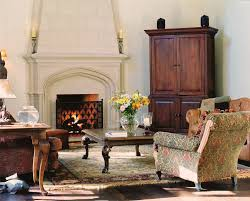 traditional armoires and with dark wood side table living room
