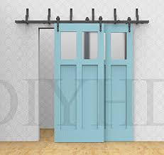 Sliding Barn Closet Doors by Amazon Com Diyhd 6ft Bypass Sliding Barn Wood Door Track Hardware