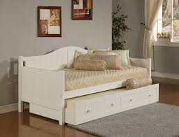 Linen Daybed Natural Ash Wooden Sliding Trundle Bed Using Striped Pattern Bed