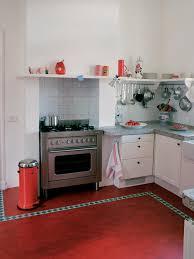 Vintage Kitchen Backsplash Kitchen Floor Red And Retro Kitchen Theme White Ceramic Tile