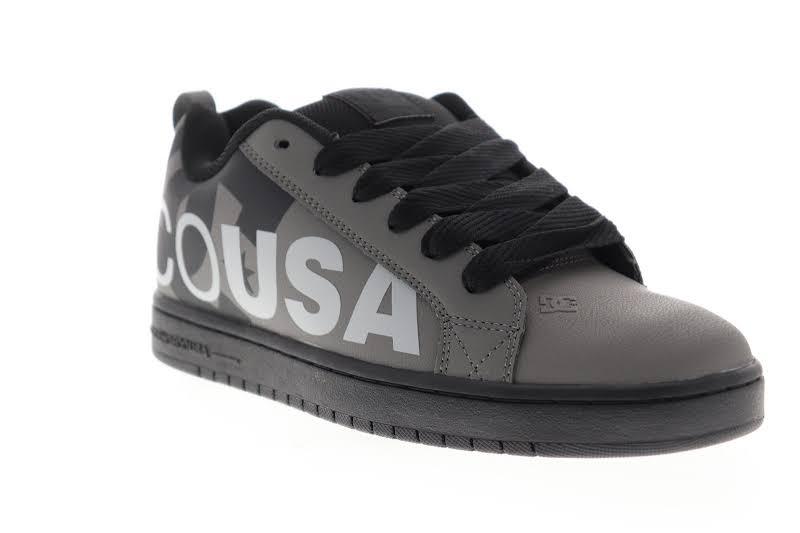 DC Court Graffik SE 300927 Gray Leather Lace Up Athletic Skate Shoes