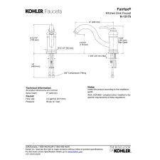 8 Kitchen Faucet Kohler Faucet K 12175 Cp Fairfax Polished Chrome One Handle