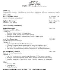 Samples Of Resumes For Highschool Students by Resume Examples Military