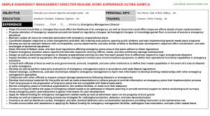 Example Of Resume Objectives by Emergency Management Director Resume Sample