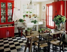 red cabinets vintage country styled kitchen interiors by color