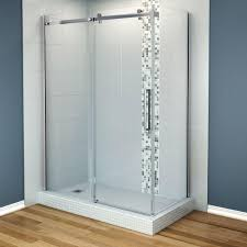 maax halo 60 in x 33 7 8 in frameless corner shower enclosure in
