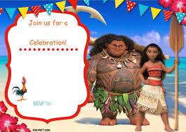 Free Printable Birthday Invitation Cards With Photo Free Moana Birthday Invitation Template Drevio Invitations Design