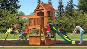 Cedar Playsets Backyard Discovery Atlantis All Cedar Wood Playset Swing Set Youtube