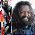 Hugh Jackman smiles through all of his facial hair as he gets ready to work ... - hugh-jackman-furry-for-wolverine