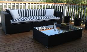 Patio Accents by Furniture Black Wicker Sofa With Black And White Cushion Seat