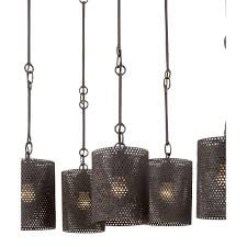 hanging old black iron chandeliers with round wire lamp shades for