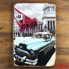 Vintage Home Decor Wholesale Wholesale Sale Cuba Traveling Car Vintage Iron Tin Signs Bar