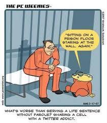 Photo describing tweeting from jail.