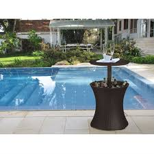 Wicker Resin Patio Furniture - outdoor patio pool cocktail table cooler bar in brown wicker resin