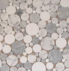 Mosaic Bathroom Tile by Round Glass Tiles Bubbles Marble And Grey Smoke With Thassos