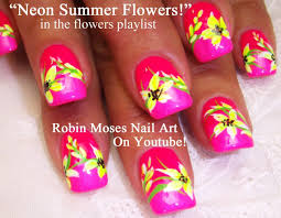 nail art tutorial diy neon pink flower design youtube