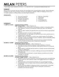 Sample Resume For Customer Service Representative Telecommunications by Best Transportation Customer Service Advisor Resume Example